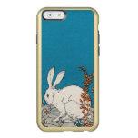 Flores blancas del conejo del vintage elegante funda para iPhone 6 plus incipio feather shine