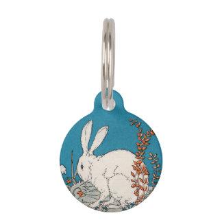 Flores blancas del conejo del vintage elegante placas para mascotas