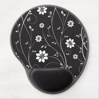 Flores blancas del fondo negro alfombrilla de raton con gel
