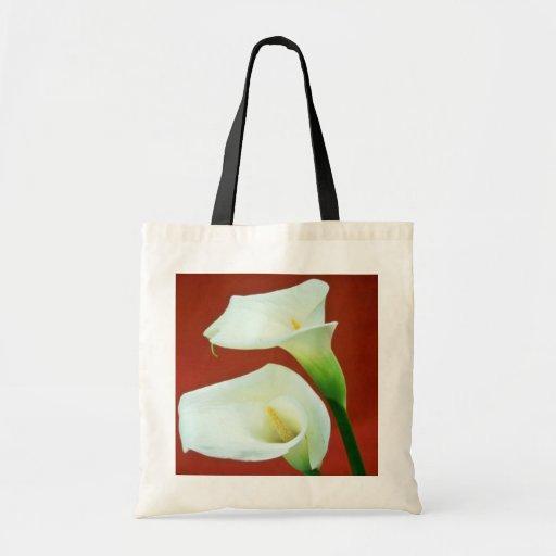 flores blancas del lirio de Arum Bolsa De Mano
