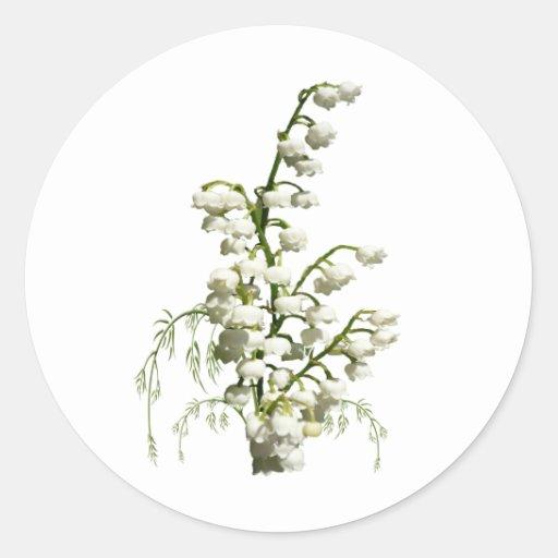 Flores blancas del lirio de los valles pegatinas redondas