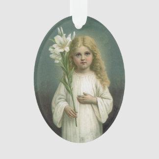 Flores blancas del lirio del vestido del chica ang