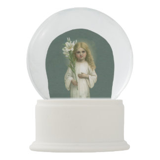 Flores blancas del lirio del vestido del chica bola de nieve