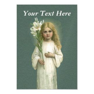 Flores blancas del lirio del vestido del chica invitaciones magnéticas
