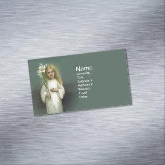 Flores blancas del lirio del vestido del chica tarjetas de visita magnéticas (paquete de 25)