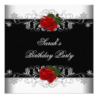 Flores blancas del rosa rojo del negro de la fiest invitaciones personales