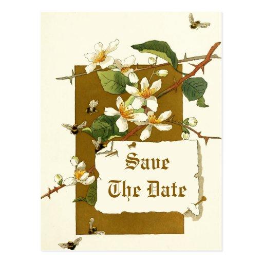 Flores blancas del vintage que casan reserva la fe postales