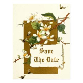 Flores blancas del vintage que casan reserva la postal