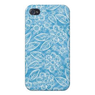 flores blancas delicadas en azul iPhone 4 cárcasas