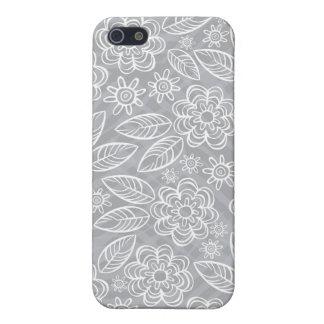 flores blancas delicadas en gris iPhone 5 cobertura