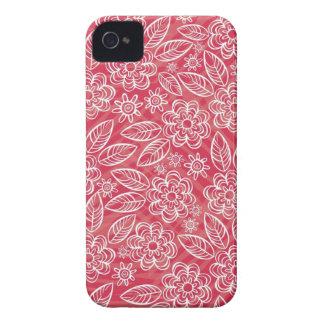 flores blancas delicadas en rojo Case-Mate iPhone 4 coberturas