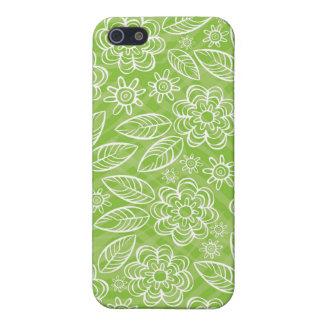 flores blancas delicadas en verde iPhone 5 cobertura