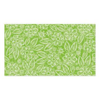 flores blancas en fondo verde tarjetas de visita