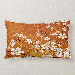Flores blancas en Grunge anaranjado Cojin