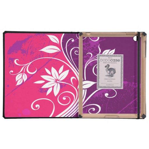 Flores blancas en Grunge rosado y púrpura iPad Cobertura