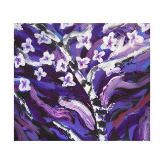Flores blancas en púrpura impresiones de lienzo