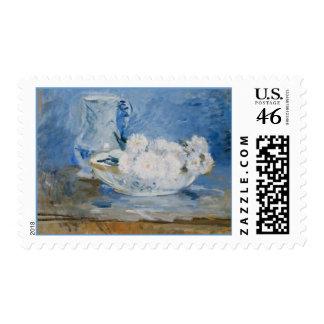 Flores blancas en sellos del cuenco de un arte de