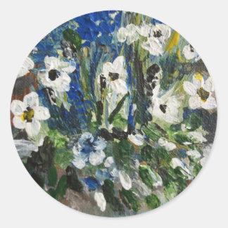 Flores blancas etiqueta redonda
