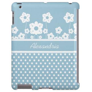 Flores blancas femeninas y lunares en azul claro funda para iPad