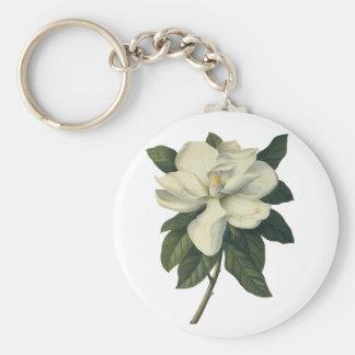 Flores blancas florecientes del flor de la llavero redondo tipo pin