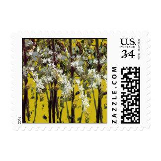 Flores blancas minúsculas sello