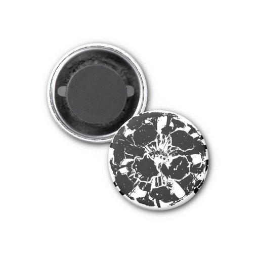 flores blancas negras del cráneo imán redondo 3 cm