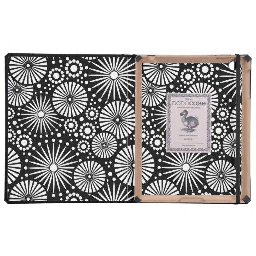 Flores blancas negras retras DodoCase iPad Protector