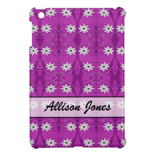 Flores blancas personalizadas en modelo púrpura iPad mini cárcasas