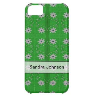 Flores blancas personalizadas en modelo verde funda para iPhone 5C
