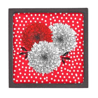 Flores blancas rojas bonitas y diseño del lunar cajas de joyas de calidad