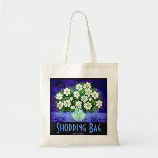 Flores blancas, tote verde del florero bolsa