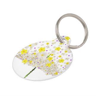 Flores blancas y amarillas placa para mascotas