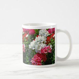 Flores blancas y rojas de los geranios taza de café