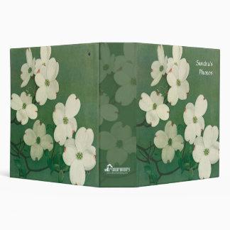 Flores blancas y verdes carpeta de 2 pulgadas