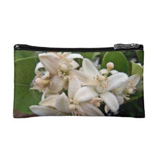 Flores blancos de la fruta cítrica cubiertos en ro