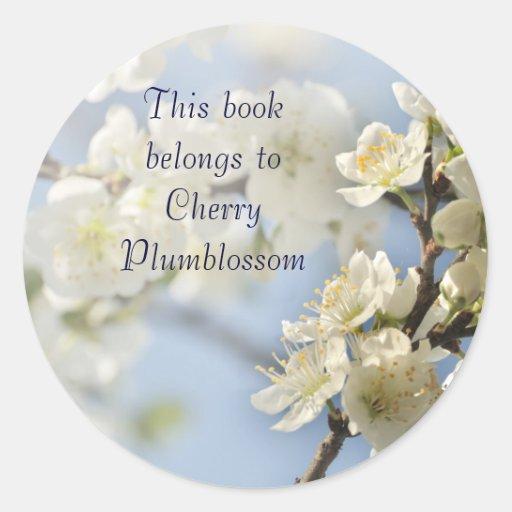 Flores blancos de la primavera etiqueta redonda
