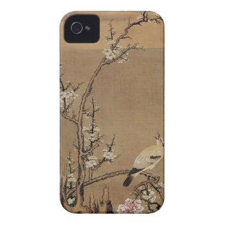 Flores blancos del ciruelo y pájaros amarillos por Case-Mate iPhone 4 funda