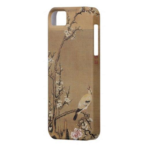 Flores blancos del ciruelo y pájaros amarillos por funda para iPhone SE/5/5s