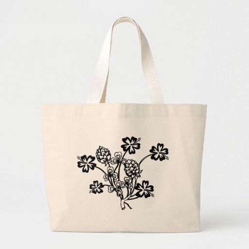 Flores blancos y negros bolsa tela grande