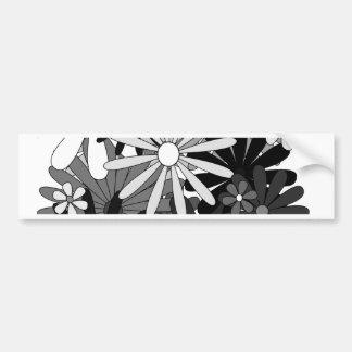 Flores blancos y negros pegatina para auto