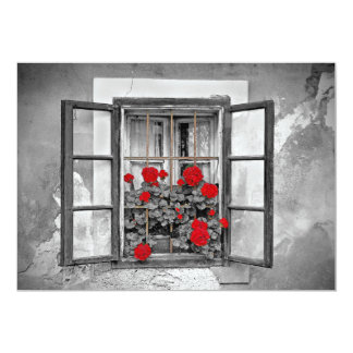 """flores blancos y negros de la casa de la ventana invitación 5"""" x 7"""""""