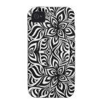 Flores blancos y negros del fractal de la tinta iPhone 4 carcasas