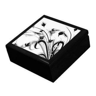 Flores blancos y negros elegantes cajas de joyas
