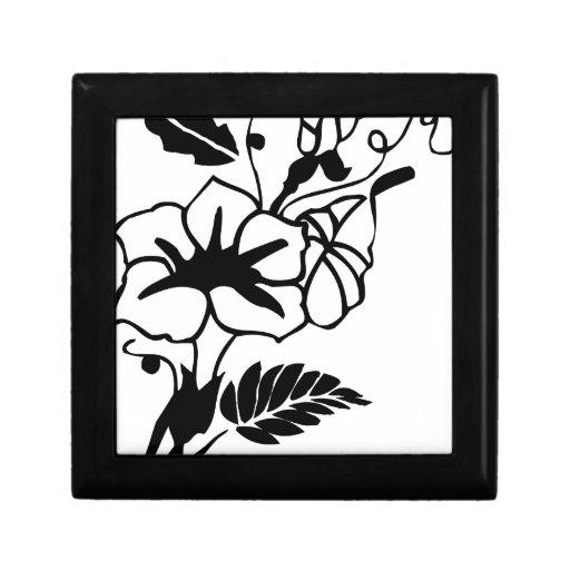 Flores blancos y negros joyero cuadrado pequeño