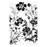 Flores blancos y negros papelería personalizada
