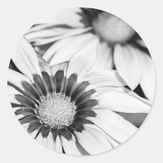 Flores blancos y negros pegatina redonda