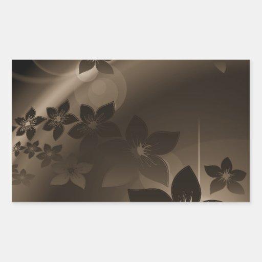 Flores bonitas con las sombras de Brown Pegatina Rectangular