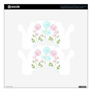 Flores bonitas del rosa y del azul del trullo mando PS3 calcomanías