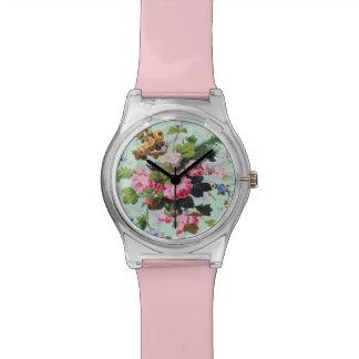 Flores bonitas del vintage reloj de mano