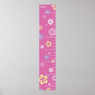 Flores bonitas en carta de crecimiento rosada posters